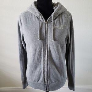 B2G1 Hollister Gray Sequin Fleece Hooded Jacket